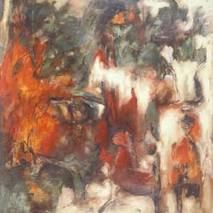 «Rites de passages no. 5», 1989, Peinture à l'huile sur papier, 59'' x 50''