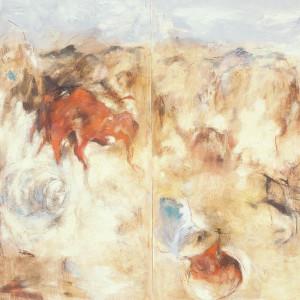 «Rites de passages no. 6», 1989, Peinture à l'huile sur papier, 90'' x 118''