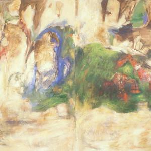 «Rites de passages no. 7», 1989, Peinture à l'huile sur papier, 90'' x 118''