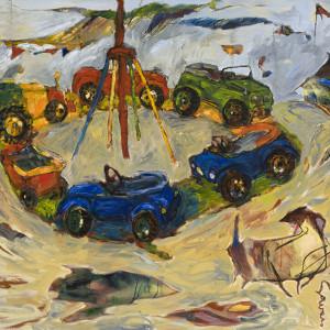"""Point tournant, 2009, Huile sur papier, 151.5'' x 126.5"""""""