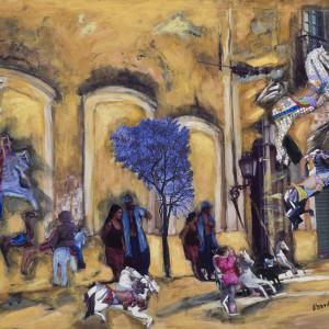 """Carrousel no. 5, 2010, Médias mixtes sur bois, 18'' x 20"""""""