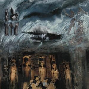 La colère des dieux, 2001, médias mixtes sur papier, 18'' x 24''