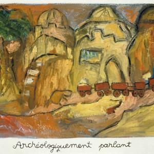 Archéologiquement parlant, 2001, huile sur papier fait main, 34' x 34'