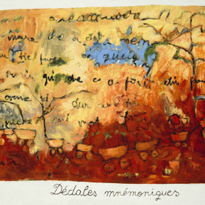 Dédales ??, 2001, oil on handmade paper,