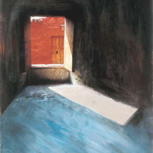 "Passage, no.1, 2001, mixed media on paper, 18"" x 24"""