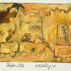 Fébrilité exotique, 2001, huile sur papier fait main, 48'' x 30''