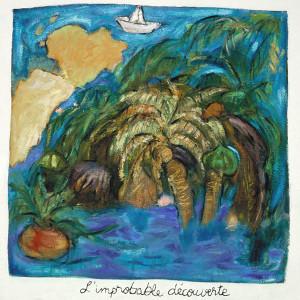 L'improbable découverte, 2001, huile sur papier fait main, 39'' x 38''